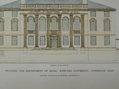 Department of Music Building, Harvard University, Cambridge, MA, 1916, Original Plan. Howells & Stokes.