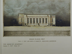 Design for the Hartford County Building in Hartford CT, 1927. Paul P. Cret and Smith & Bassette