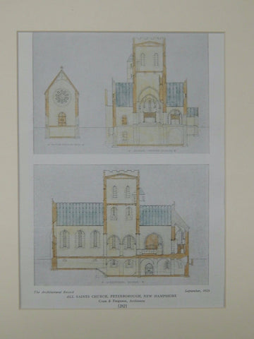 All Saints Church, Peterborough, NH, 1925, Original Plan. Cram & Ferguson.