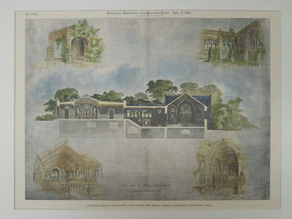 Design, Chapel and Office, Mount Auburn Cemetery, Cambridge, MA, 1896. Original Plan. Willard T. Sears.