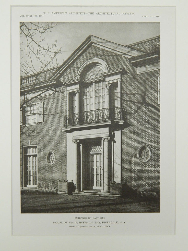 East Side Entrance, House of Wm. P. Hoffman, Riverdale, NY, 1922, Lithograph. Dwight James Baum.