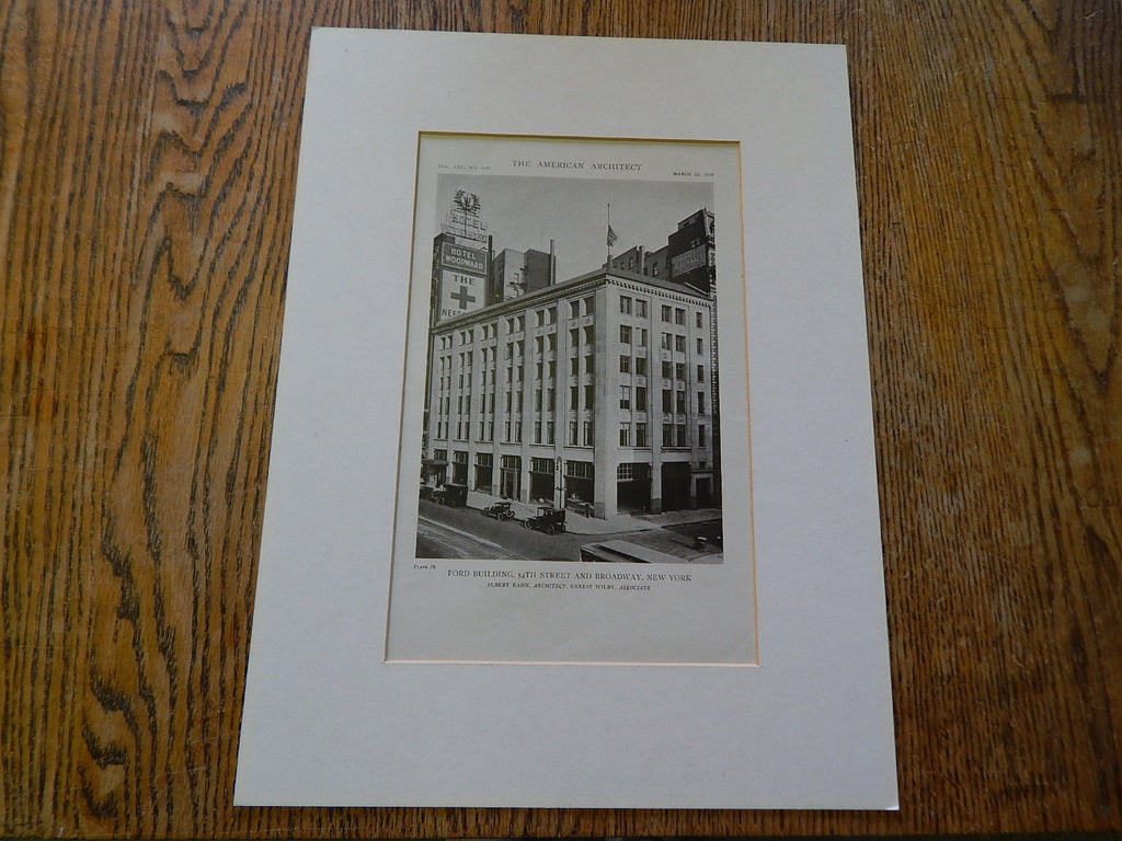 Exterior, Ford Building, 54th Street and Broadway, New York, NY, 1919, Lithograph. Albert Kahn.