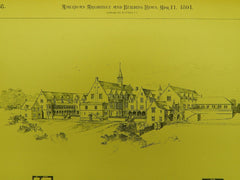 Design for Troy Orphan Asylum in Troy NY, 1891.