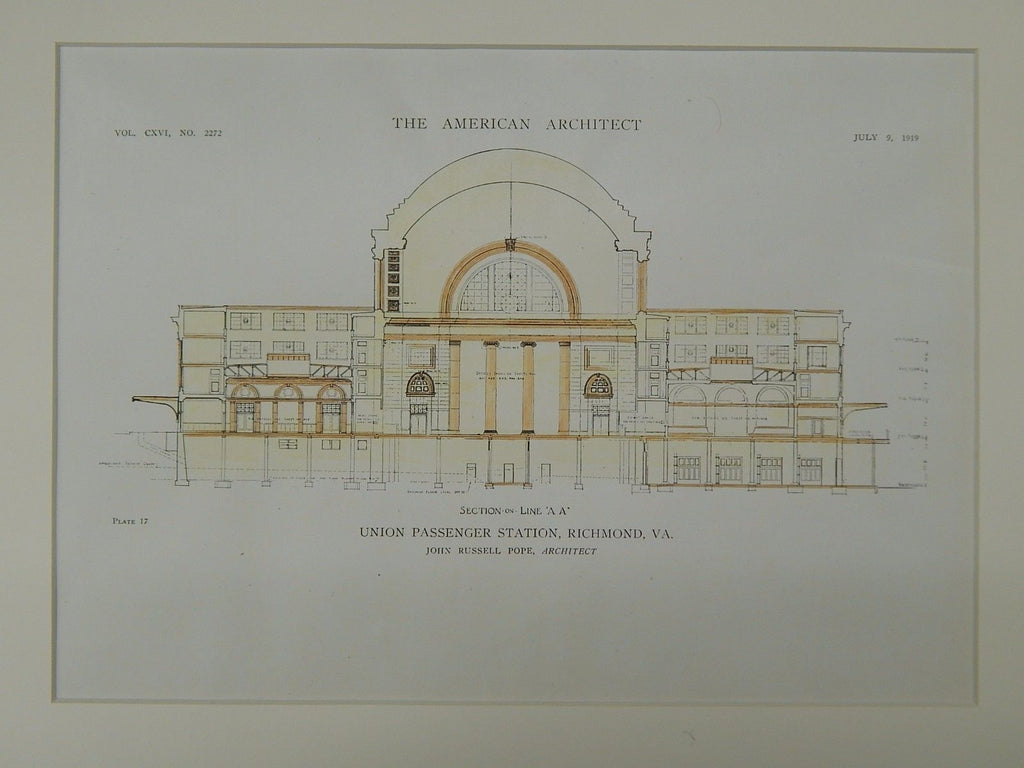 Section on Line, Union Passenger Station, Richmond, VA, 1919, Original Plan. John Russell Pope.