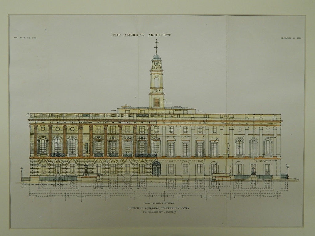 Front Elevation, Municipal Building, Waterbury, CT, 1915. Cass Gilbert. Original