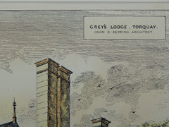 Gray's Lodge,Torquay, England, 1883. John D. Sedding. Original Plan