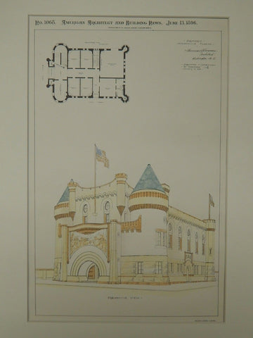 Competitive Design, Armory, Jacksonville, FL, 1896. Original Plan. Sherman & Fonneman.