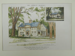 Old Morse House in Wayland MA, 1915. Little & Browne. Original