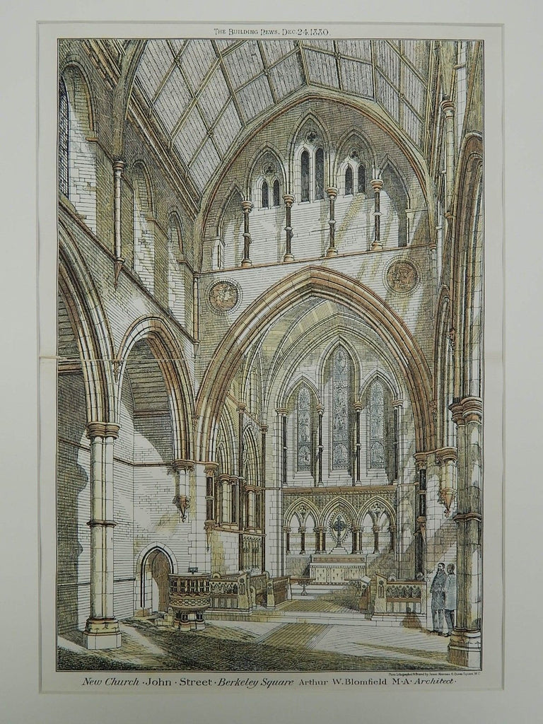 Church on John Street in Berkeley Square, London, England, 1880. Arthur W. Blomfield