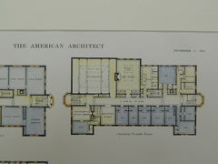 Floor Plans of the Lincoln School in Providence RI, 1915. Eleazer B. Homer