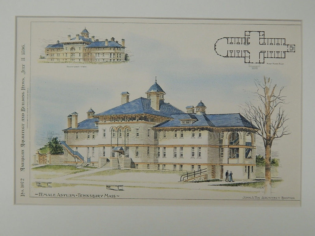 Female Asylum, Tewksbury, MA, 1896. Original Plan. John A. Fox.