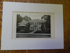 House of Everettt Chadwick, Exterior, Floor Plan, Winchester,MA, Lithograph,1914. Warren & Smith.