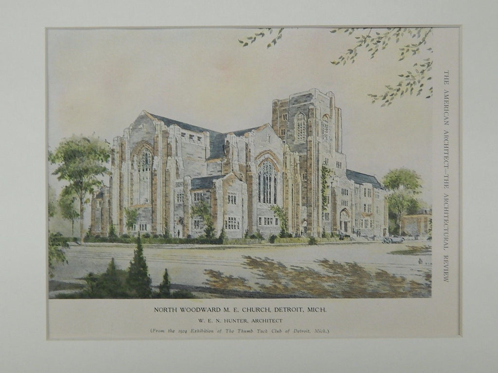 North Woodward Methodist Evangelical Church, Detroit, MI, 1924. Original Plan. W. E. N. Hunter.