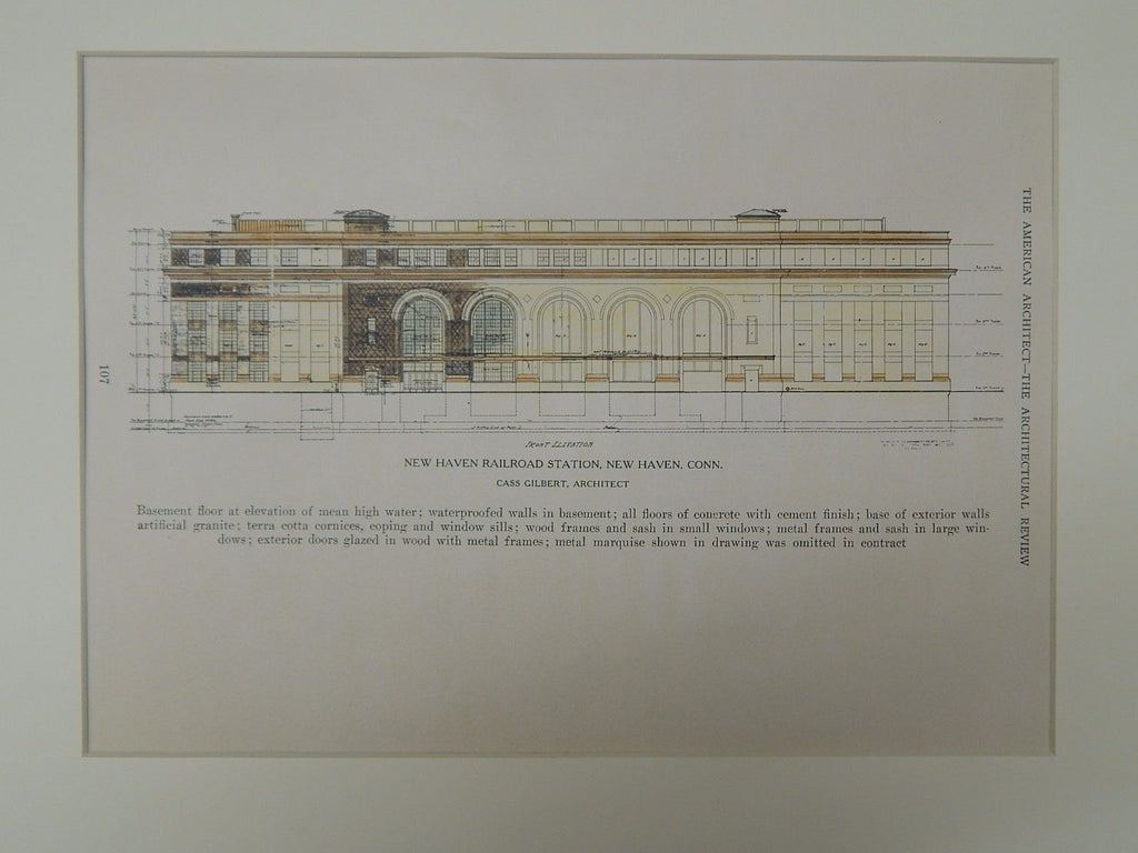 New Haven Railroad Station, New Haven, CT, 1923, Original Plan. Cass Gilbert.