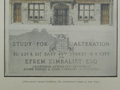 Alteration of 225 & 227 East 49th St. for Efrem Zimbalist in New York NY, 1929. Grosvenor Atterbury