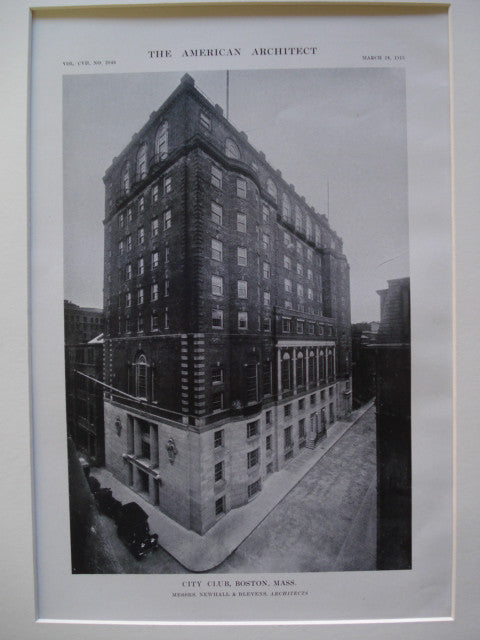 City Club, Boston, MA, 1915, Messrs. Newhall & Blevens