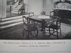 Dining-Room: House of L.D. Drewry, Esq., Cincinnati, OH, 1900, Elzner & Anderson