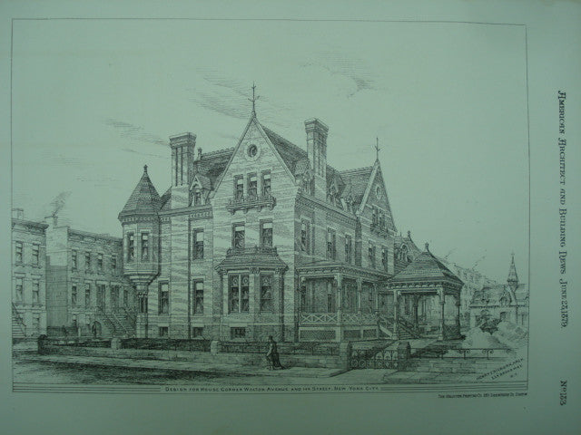 Design for the House on the Corner of Walton Avenue and 149th Street , New York, NY, 1879, Henry E. Kilburn