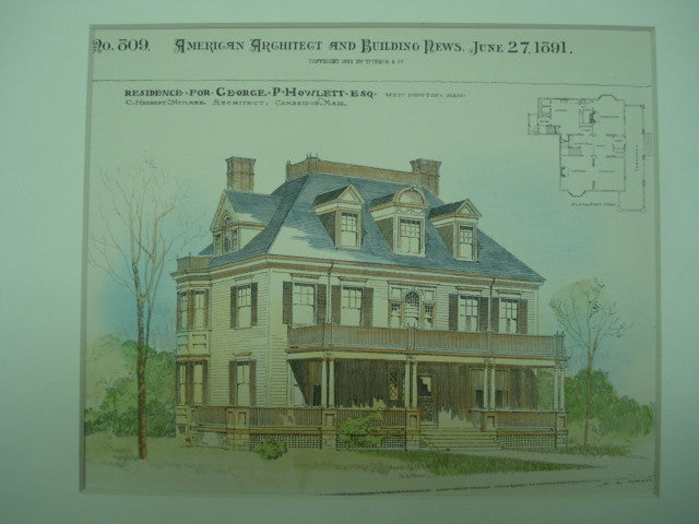 Residence for George P. Howlett, Esq., West Newton, MA, 1891, C. Herbert McClare