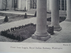 Court from Loggia in the Royal Italian Embassy , Washington, DC, 1927, Warren & Wetmore