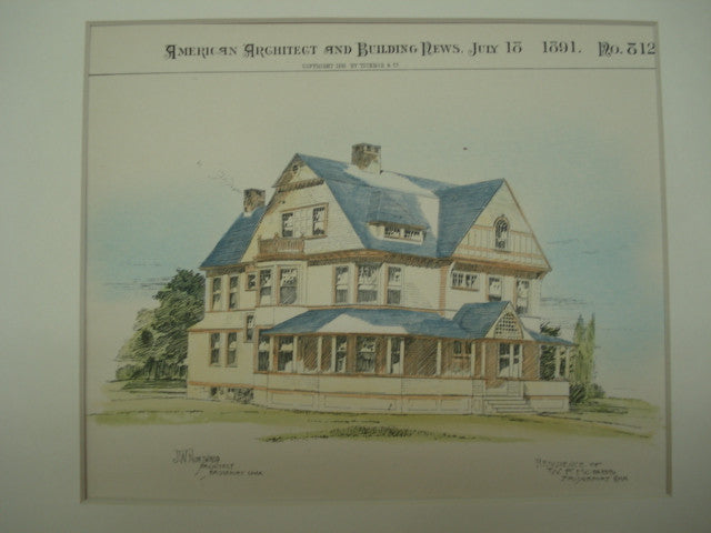 Residence of W. F. Hobbs , Bridgeport, CT, 1891, J. W. Northrup