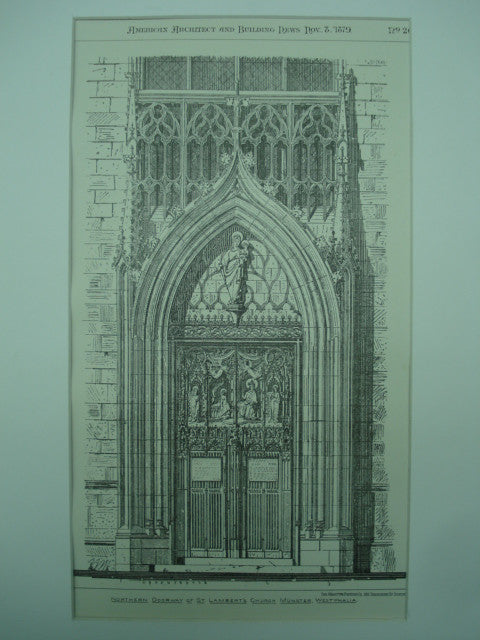 Northern Doorway of St. Lambert's Church , Munster, Westphalia, Germany, EUR, 1879, Not Stated