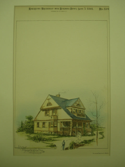 Cottage for Noah A. Whitney, Esq. , Toledo, OH, 1891, Art. E. Hitchcock