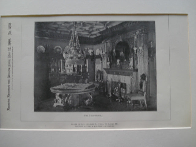 Dining-Room in the House of Col. Charles S. Hills , St. Louis, MO, 1900, Barnett, Haynes & Barnett