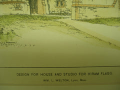 Design for the House and Studio for Hiram Flagg, 1895, Wm. L. Welton
