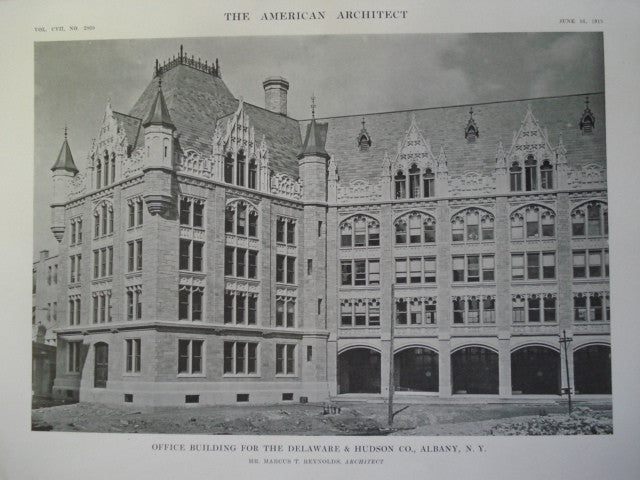 Office Building for the Delaware & Hudson Co., Albany, NY, 1915, Mr Marcus T Reynolds