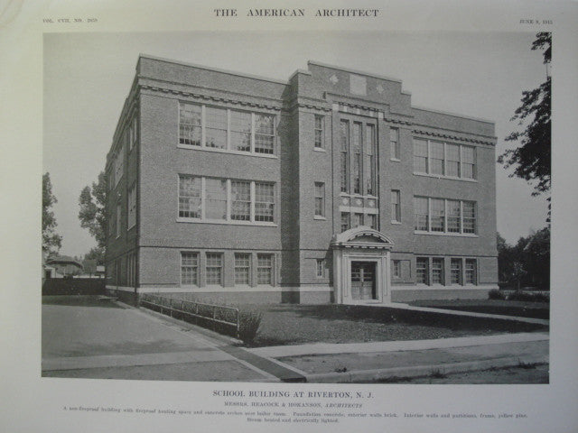 School Building , Riverton, NJ, 1915, Messrs. Heacock & Hokanson