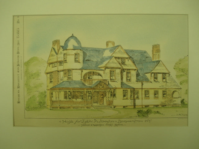 House for Joseph M. Johnson , Binghampton, NY, 1883, Hartwell & Richardson