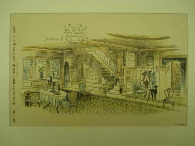 Hall of Mr. M. H. Clark's Residence , Jamestown, NY, 1892, E. G. W. Dietrich