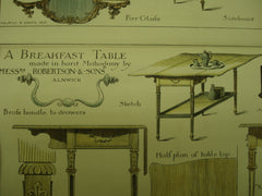 Chippendale Furniture by Wright and Mansfield and a Breakfast Table made in hard Mahogany by Robertson & Sons, Alnwick, England, UK, 1883, Maurice B. Adams