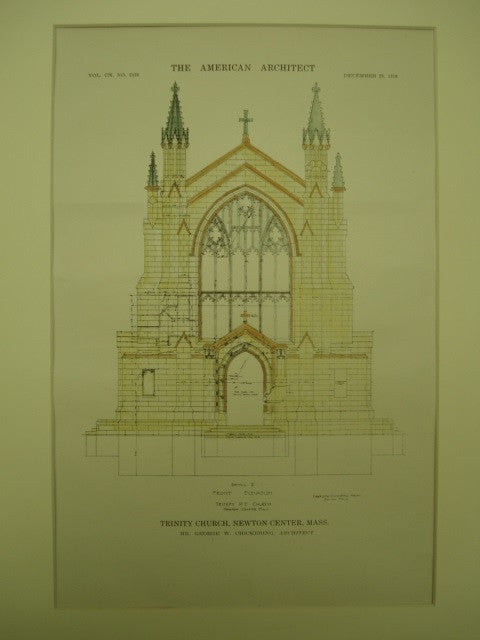 Trinity Church, Newton Center, MA, 1916, George W. Chickering
