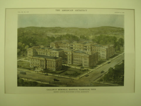 Gallaway Memorial Hospital , Nashville, TN, 1916, Samuel Hannaford & Sons