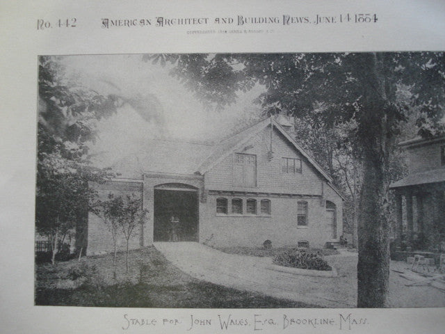 Stable for John Wales, Esq., Brookline, MA, 1884, W.W. Lewis