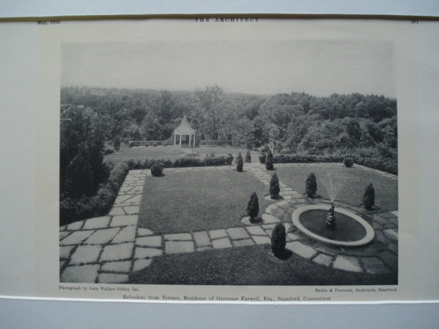 Belvedere from the Terrace in the Residence of Grovenor Farwell, Esq., Stamford, CT, 1930, Butler & Provoost