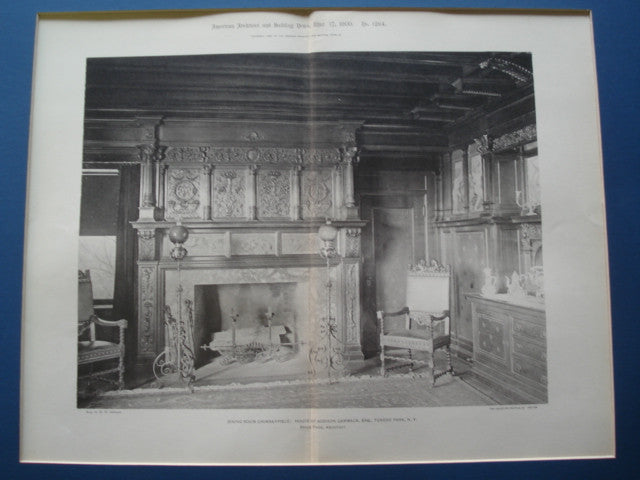 Dining Room Chimneypiece in the House of Addison Cammack, Esq., Tuxedo Park, NY, 1900, Bruce Price