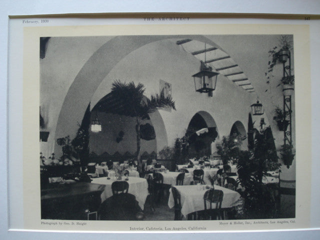 Interior of a Cafeteria , Los Angeles, CA, 1930, Meyer & Holler, Inc