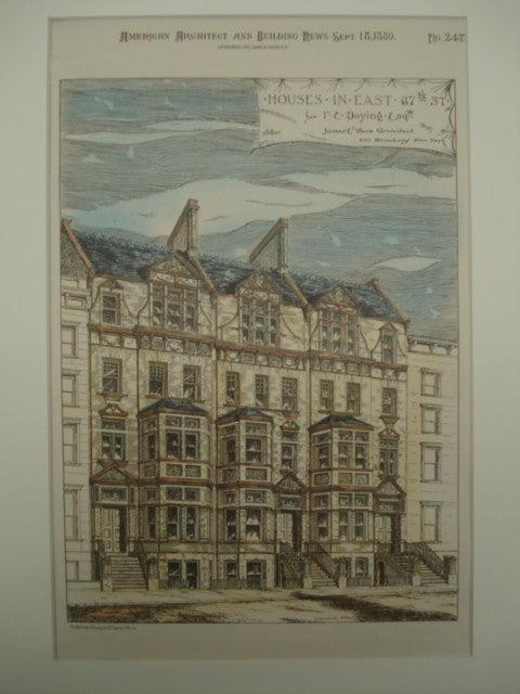 Houses on East 67th Street for I. E. Doying, Esq. , New York, NY, 1880, James E. Ware