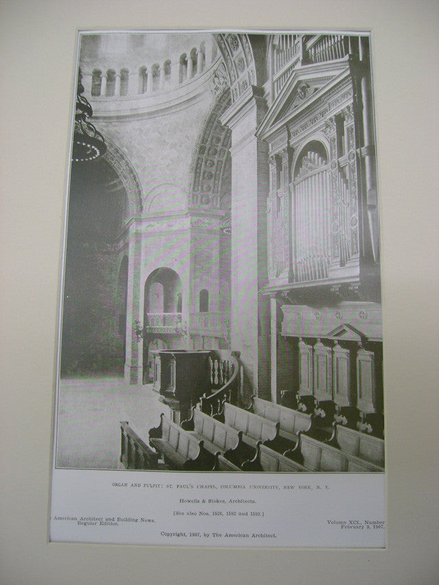 Organ and Pulpit: St. Paul's Chapel, Columbia University, New York, NY, 1907, Howells and Stokes