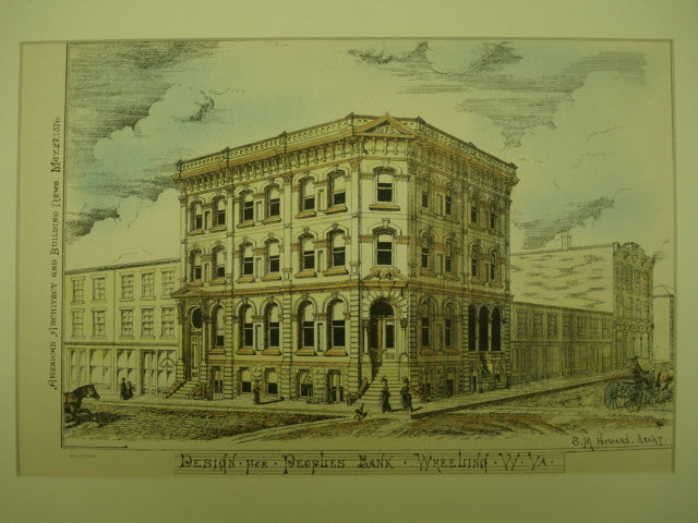 Design for the Peoples' Bank , Wheeling, WV, 1876, S. M. Howard