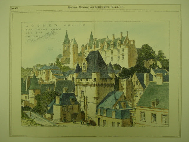 Upper Town and Chateau , Loches, France, EUR, 1894, Unknown