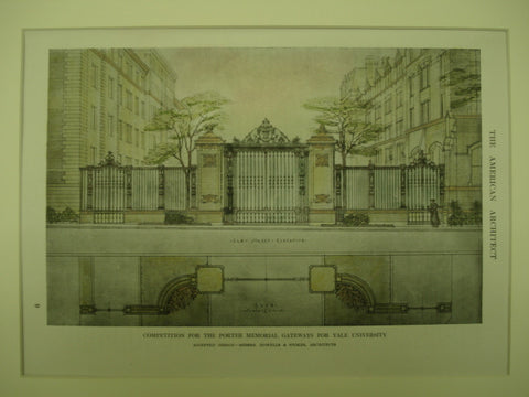 Competition for the Porter Memorial Gateways at Yale Univeristy , New Haven, CT, 1912, Messrs, Howells & Stokes