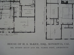 House of H.S. McKee, Esq., Monrovia, CA, 1915, Mr. Myron Hunt and Mr. Elmer Grey