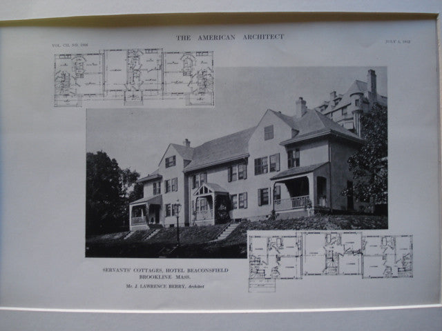 Servant's Cottages for the Hotel Beaconsfield , Brookline, MA, 1912, Mr. J. Lawrence Berry