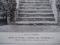 Detail of the Entrance to the House of Victor C. Mather, Esq., Haverford, PA, 1912, Duhring, Okie & Ziegler