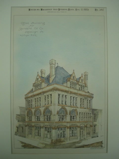 Office Building for Standard Oil Company , Pittsburgh, PA, 1885, W. S. Fraser