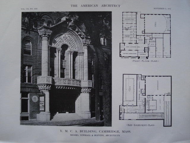 Y.M.C.A. Building , Cambridge, MA, 1912, Newhall & Blevins
